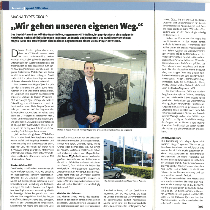 """Magna Tyres Group featured in the Gummibereifung; """"We go our own way ..."""